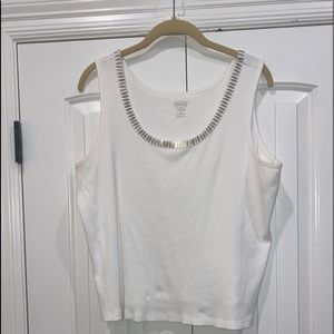 Talbots White Metaled Trimmed Tank